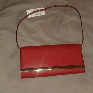 Red Michael Kors Clutch With Strap